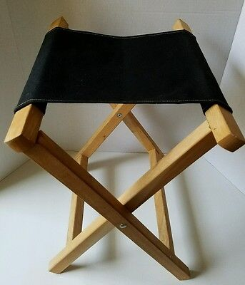 Vintage Folding Cloth Canvas Wood Frame Stool Chair Fishing Camping Fold Up