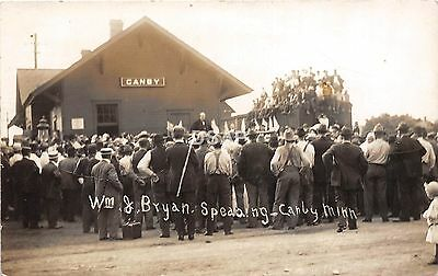 A74/ Canby Minnesota RPPC Postcard William Jennings Bryan Autograph Depot c1912