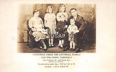 Indiana In Real Photo RPPC Postcard c1930 LUTTRULL FAMILY Gospel Tabernacle