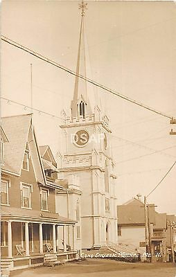 A54/ Machias Maine Me RPPC Real Photo Postcard c1910 Congregational Church