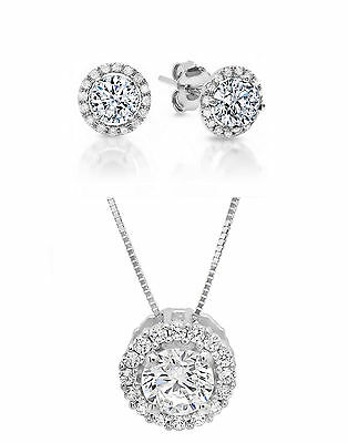"Round Solitaire Halo Earring&Necklace Set Solid 14K White Gold+16""  Gold Chain"