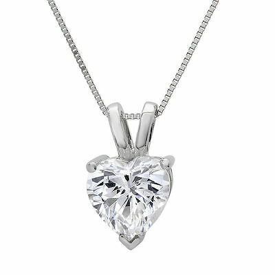 """2.0 ct Heart Cut Solid 14K White Gold Solitaire Pendant Necklace +16"""" Chain"""
