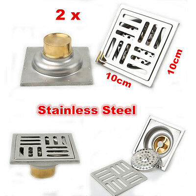 2 X Anti-odor Square Floor Waste Grates Shower Drain Stainless Steel Floor Drain