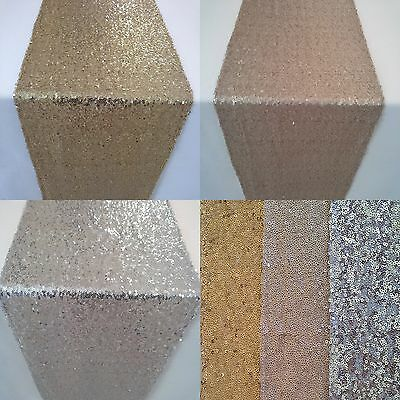3 Size Sequin Table Runner Cloth Sparkly Light Gold Party Wedding Decor