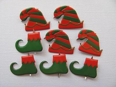 BB BRADS ELVES SHOES & HAT pk of 8 christmas xmas elf scrapbooking split pin