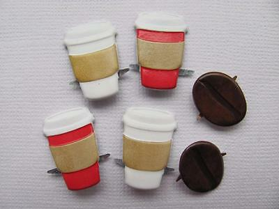 BB BRADS COFFEE pk of 6  takeaway coffee cup beans scrapbooking split pin