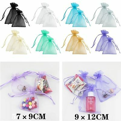 50/100 Sheer Organza Wedding Favour Christmas Gift Candy Bag Jewellery Pouches