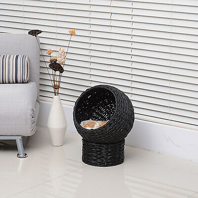 PawHut Elevated Cat Condo Ball Bed Kitty House Pet Furniture Rattan w/ Mat