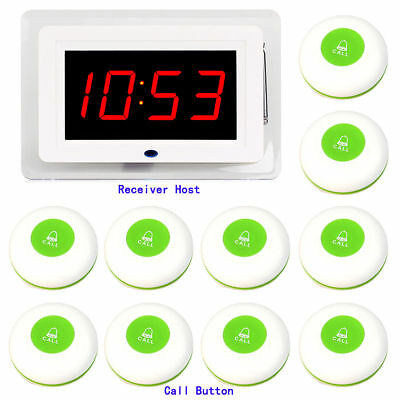 Restaurant Call Transmitter Button+Display Receiver Host w/ Voice Broadcast TOP