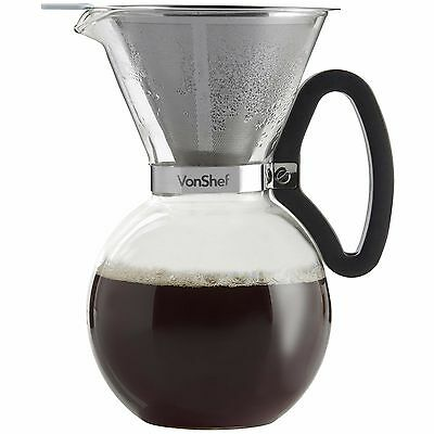 VonShef 1L 34oz 8 Cup Pour Over Permanent Steel Filter Glass Coffee Maker Brewer