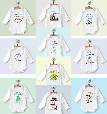 Little Brother LONG SLEEVE BABYGROW, New Baby Christmas Gift Outfit Clothing