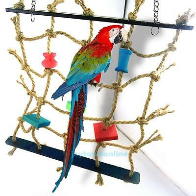 New Rope Net Swing Ladder Pet Toys Parrot Birds Chew Play Climbing Activity Gym