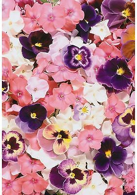 Pink Pansy Flower Floral Wallpaper A4 Sized Edible Wafer Paper / Icing Sheet
