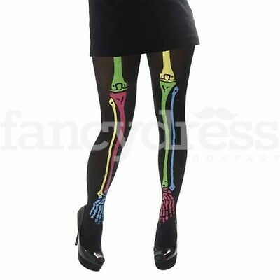 Childrens Girls Neon Black Opaque Skeleton Print Tights Halloween Fancy Dress