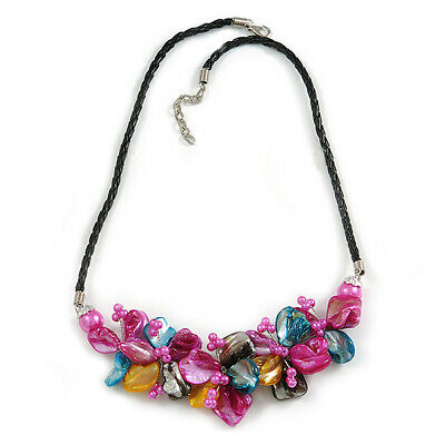 Stunning Hot Pink/Antique Yellow/Light Blue Shell-Composite Leather Cord Necklac