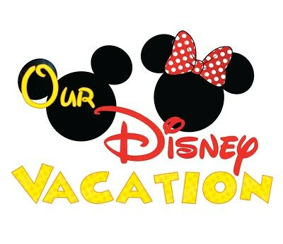 ****OUR DISNEY VACATION MICKEY MINNIE MOUSE ****FABRIC//T-SHIRT IRON ON TRANSFER