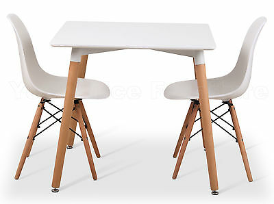 Eiffel Small White Dining Set 80cms Square Table Wood Legs 2 Chairs Eames Style