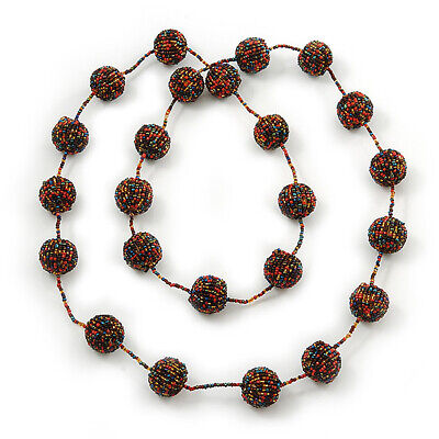 Long Glass Ball Necklace (Black/ Yellow/ Coral/ Amber Coloured) - 120cm Length