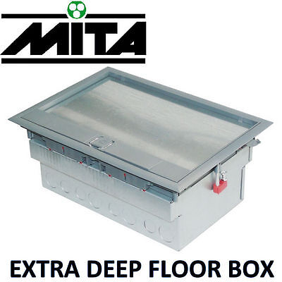 Mita Floor Box 3 Compartment Enclosure Electrical Cable Twin Sockets 32A Plug