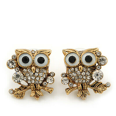 'Wise Owl' Diamante Paved Stud Earrings (Gold Plated) - 2cm Length