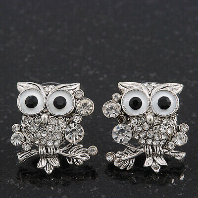 'Wise Owl' Diamante Paved Stud Earrings (Silver Plated) - 2cm Length