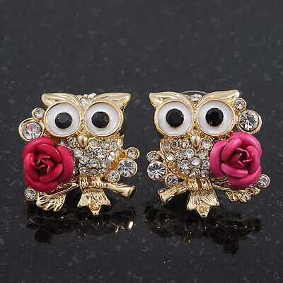 'Wise Owl With Rose' Diamante Paved Stud Earrings In Gold Plating - 2cm Length
