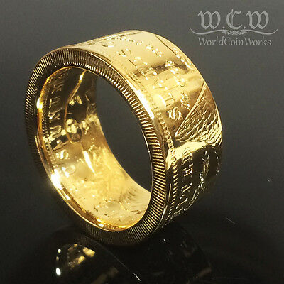 24K Gold Plated Morgan Silver Dollar Coin Ring sizes 8 - 15