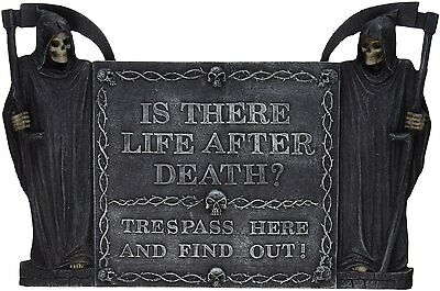 Warning Beware Caution Signs No Trespass Sign Halloween Gothic Decor Grim Reaper