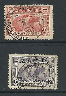 1931 King George V SG121 & SG123 Kingsford Smith Flights 2d & 6d Used AUSTRALIA