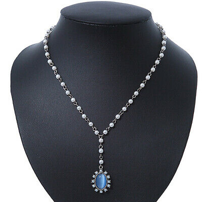 White Simulated Pearl Y-Shape Necklace With Blue Cat Eye Oval Pendant In Antique