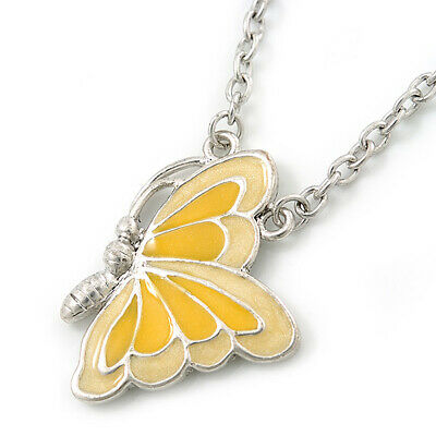 Yellow Enamel Butterfly Pendant With Silver Tone Chain - 38cm Length/ 7cm Extens