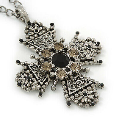 Vintage Inspired Filigree Diamante 'Cross' Pendant With Silver Tone Oval Link Ch