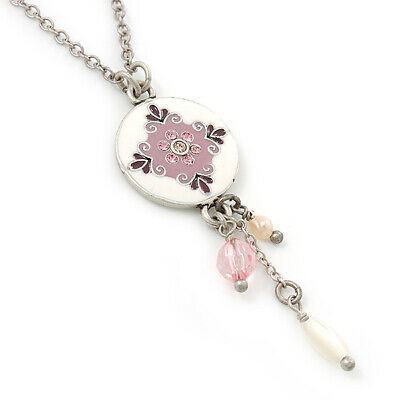 Delicate White, Pink Enamel Medallion Pendant With Antique Silver Chain Necklace