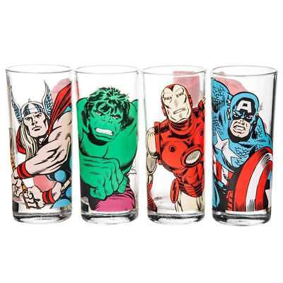 Official Marvel Characters Set Of 4 Glasses Glass Tumblers Thor Hulk Iron Man