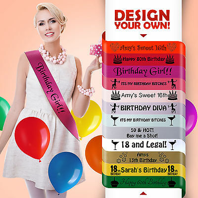 Personalised Birthday Sash Any Age Hot Pink Gift 16 17 18 21 30 Party Girl New