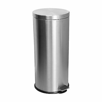 30 Litre Kitchen Pedal Rubbish Waste Bin - Matt Steel