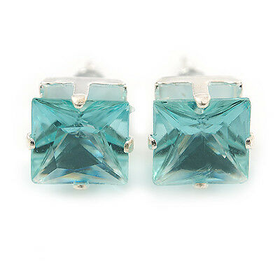 Classic Light Aqua Crystal Square Cut Stud Earrings In Silver Plating - 8mm Diam