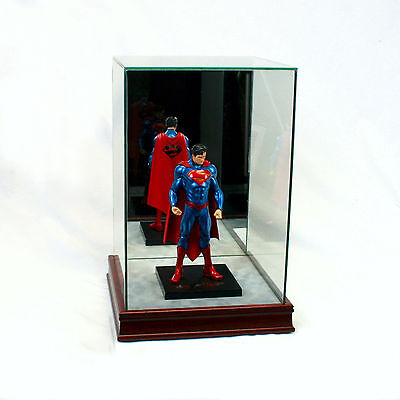 """1/10 Scale Comic Figurine Display Case 10"""" Tall All Glass Cherry Sport Moulding"""