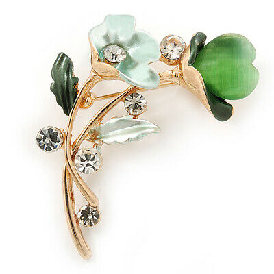 Mint/ Green Crystal Calla Lily With Cat's Eye Stone Floral Brooch In Gold Tone -