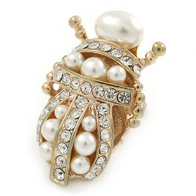 Clear Crystal, Glass Pearl Egyptian 'Scarab' Beetle Ring In Gold Plating - Size