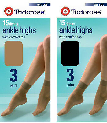 3 Pairs Tudorose 15 Denier Ankle Highs With Comfort Tops UK 4-7 Stockings Socks