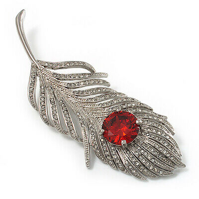 Large Diamante Peacock Feather Silver Tone Brooch (Clear & Carrot Red) - 11.
