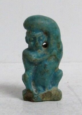 660 – 330 Bc Ancient Egypt Late Period Faience Amulet Phallic Pataikos 32Mm