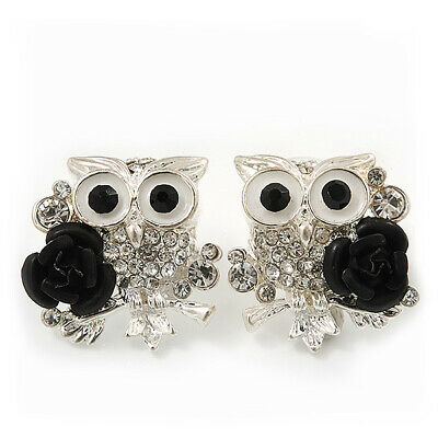 'Wise Owl With Rose' Diamante Paved Stud Earrings In Rhodium Plating - 2cm Lengt