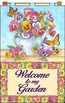 """Design Works Jeweled Beads Kit 16"""" x 24"""" Banner ~ FLORAL WATERING CAN #4191 Sale"""