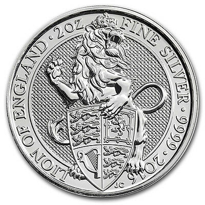 2oz (Troy Ounce) Lion of England, Queens Beasts, 999.9 Fine Silver Coin, 2016