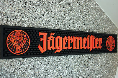 Jagermeister Black Rubber Bar Spill Mat Red Letters New Fast Shipping