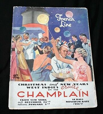 CGT FRENCH LINE SS CHAMPLAIN Deck Plan Poster 1936/7