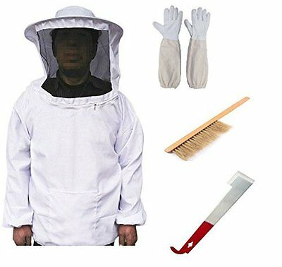 New Professional Cotton Beekeeping Bee Keeping Suit with Veil Hood Gloves