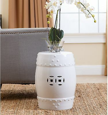 Ceramic Garden Stool White Indoor Outdoor Home Living Room Stylish Decorations